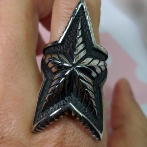 Huge Rock Star Silver Statement Ring Size 9